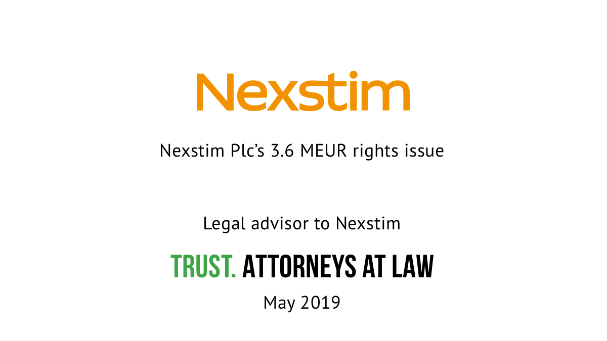 Trust advised Nexstim Plc in its investment round